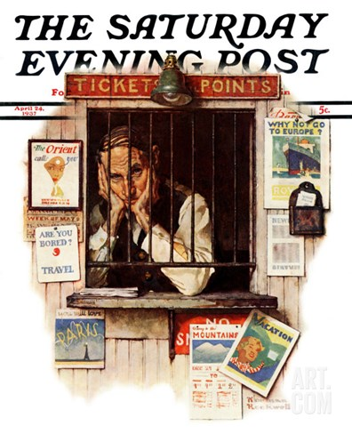 """Ticket Agent"" Saturday Evening Post Cover, April 24,1937 Stretched Canvas Print"