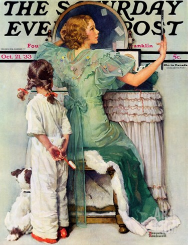 """Going Out"" Saturday Evening Post Cover, October 21,1933 Stretched Canvas Print"