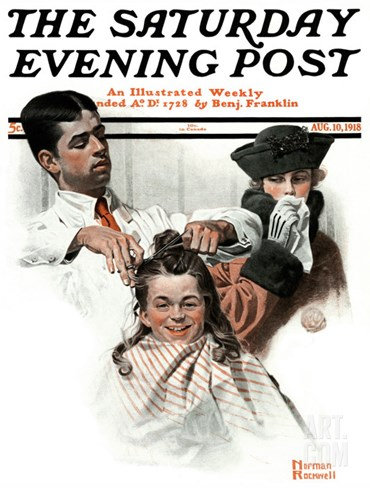 """First Haircut"" Saturday Evening Post Cover, August 10,1918 Stretched Canvas Print"