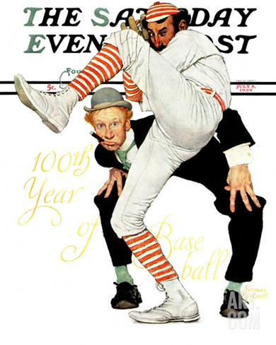 """100th Anniversary of Baseball"" Saturday Evening Post Cover, July 8,1939 Stretched Canvas Print"