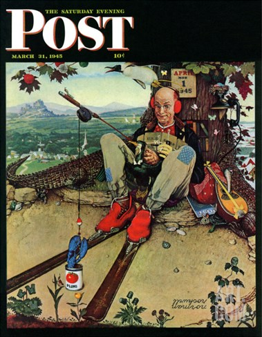 """April Fool, 1945"" Saturday Evening Post Cover, March 31,1945 Stretched Canvas Print"