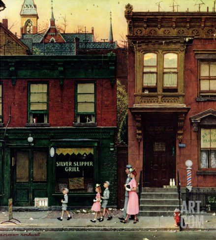 """""""Walking to Church"""", April 4,1953 Stretched Canvas Print"""