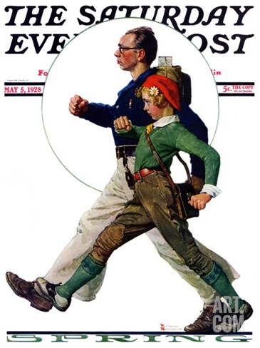"""Hikers"" Saturday Evening Post Cover, May 5,1928 Stretched Canvas Print"