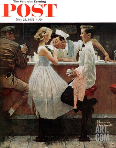 """After the Prom"" Saturday Evening Post Cover, May 25,1957 Stretched Canvas Print"