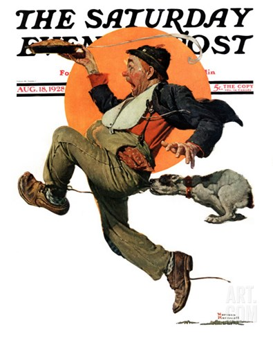 """Fleeing Hobo"" Saturday Evening Post Cover, August 18,1928 Stretched Canvas Print"