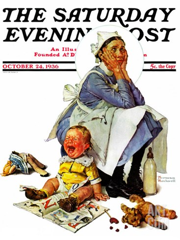 """Exasperated Nanny"" Saturday Evening Post Cover, October 24,1936 Stretched Canvas Print"