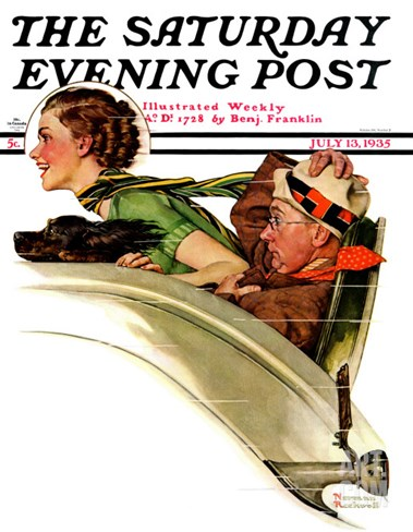 """Exhilaration"" Saturday Evening Post Cover, July 13,1935 Stretched Canvas Print"