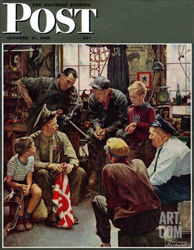 """Homecoming Marine"" Saturday Evening Post Cover, October 13,1945 Stretched Canvas Print"