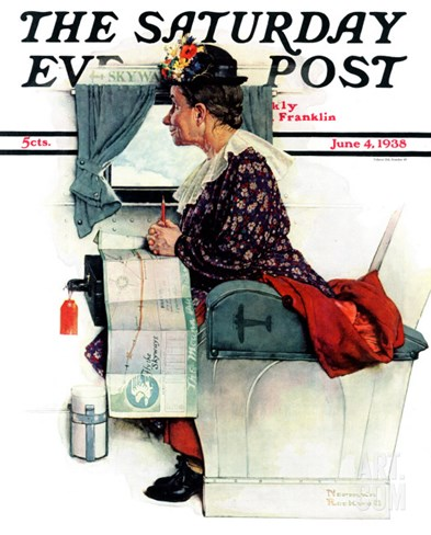 """Airplane Trip"" or ""First Flight"" Saturday Evening Post Cover, June 4,1938 Stretched Canvas Print"