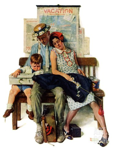 """""""Home from Vacation"""", September 13,1930 Stretched Canvas Print"""