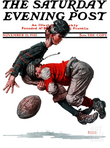 """Fumble"" or ""Tackled"" Saturday Evening Post Cover, November 21,1925 Stretched Canvas Print"