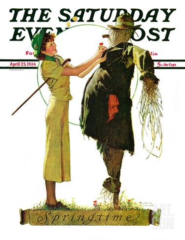 """Springtime, 1936"" Saturday Evening Post Cover, April 25,1936 Stretched Canvas Print"