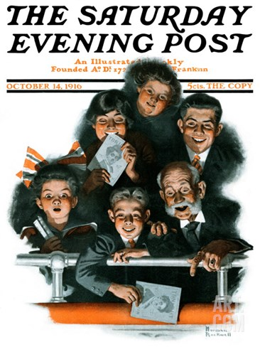"""Charlie Chaplin Fans"" Saturday Evening Post Cover, October 14,1916 Stretched Canvas Print"