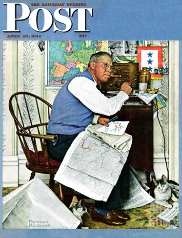 """Armchair General"" Saturday Evening Post Cover, April 29,1944 Stretched Canvas Print"