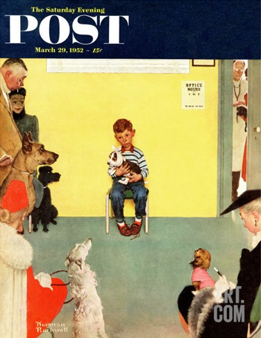 """At the Vets"" Saturday Evening Post Cover, March 29,1952 Stretched Canvas Print"