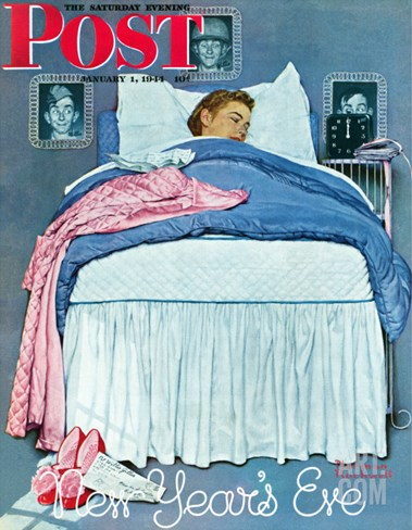 """New Year's Eve"" Saturday Evening Post Cover, January 1,1944 Stretched Canvas Print"