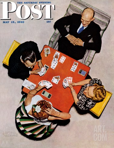 """Bridge Game"" or ""Playing Cards"" Saturday Evening Post Cover, May 15,1948 Stretched Canvas Print"