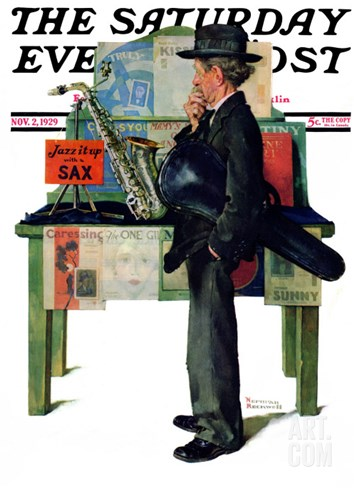 """Jazz It Up"" or ""Saxophone"" Saturday Evening Post Cover, November 2,1929 Stretched Canvas Print"