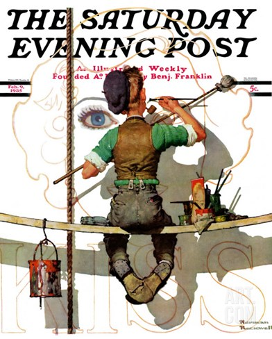 """Signpainter"" Saturday Evening Post Cover, February 9,1935 Stretched Canvas Print"