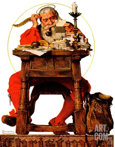 """Santa at His Desk"", December 21,1935 Stretched Canvas Print"