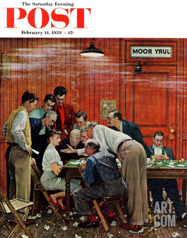"""Jury"" or ""Holdout"" Saturday Evening Post Cover, February 14,1959 Stretched Canvas Print"