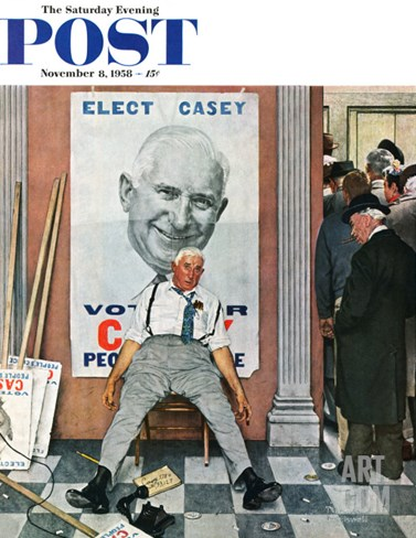 """Elect Casey"" or ""Defeated Candidate"" Saturday Evening Post Cover, November 8,1958 Stretched Canvas Print"