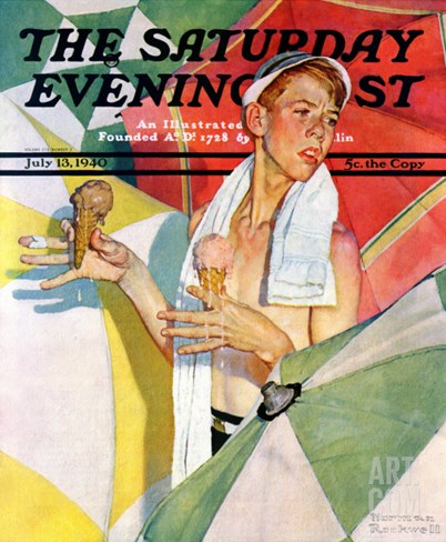 """Melting Ice Cream"" or ""Joys of Summer"" Saturday Evening Post Cover, July 13,1940 Stretched Canvas Print"