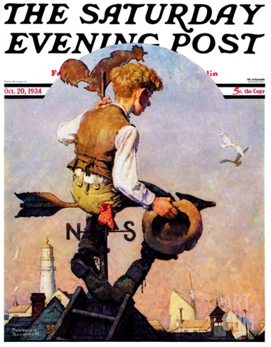 """On Top of the World"" Saturday Evening Post Cover, October 20,1934 Stretched Canvas Print"