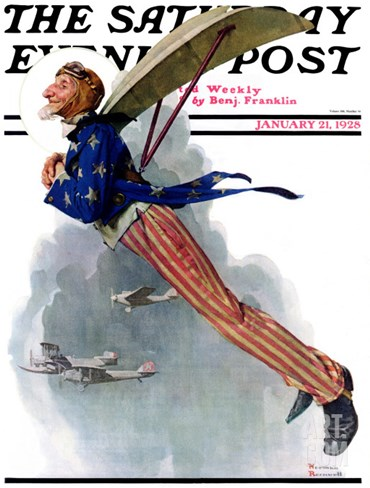 """Flying Uncle Sam"" Saturday Evening Post Cover, January 21,1928 Stretched Canvas Print"