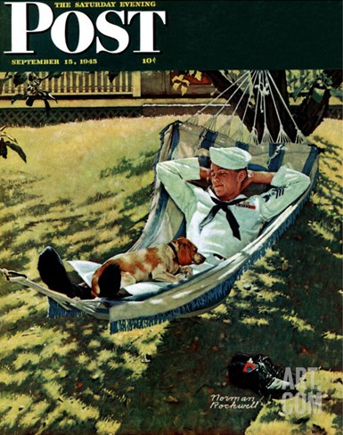 """On Leave"" Saturday Evening Post Cover, September 15,1945 Stretched Canvas Print"