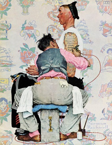 """Tattoo Artist"", March 4,1944 Stretched Canvas Print"