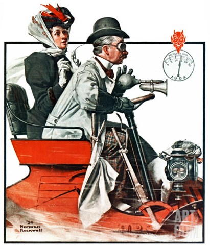 """Speeding Along"", July 19,1924 Stretched Canvas Print"