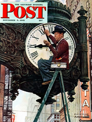 """Clock Repairman"" Saturday Evening Post Cover, November 3,1945 Stretched Canvas Print"