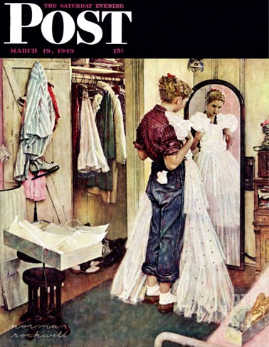 """Prom Dress"" Saturday Evening Post Cover, March 19,1949 Stretched Canvas Print"