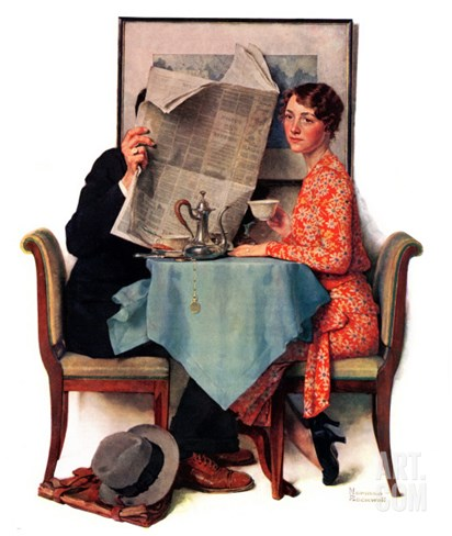 """Breakfast Table"" or ""Behind the Newspaper"", August 23,1930 Stretched Canvas Print"