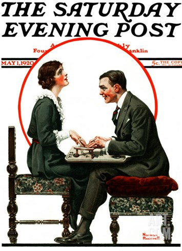 """Ouija Board"" Saturday Evening Post Cover, May 1,1920 Stretched Canvas Print"