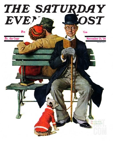 """Overheard Lovers"" (man on park bench) Saturday Evening Post Cover, November 21,1936 Stretched Canvas Print"
