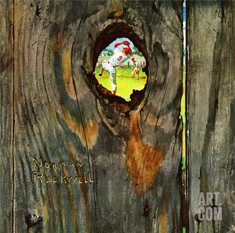 """Knothole Baseball"", August 30,1958 Stretched Canvas Print"