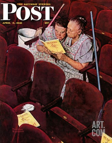 """Charwomen"" Saturday Evening Post Cover, April 6,1946 Stretched Canvas Print"