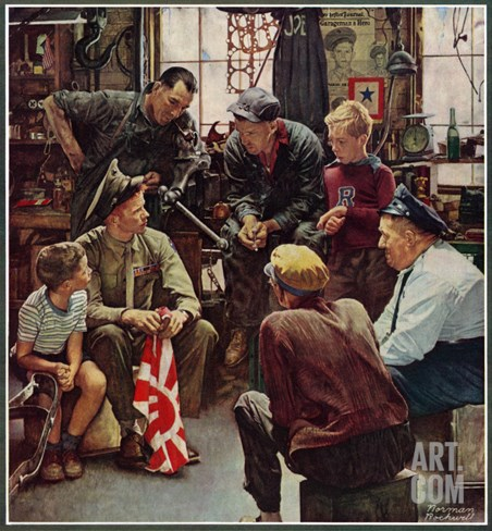"""Homecoming Marine"", October 13,1945 Stretched Canvas Print"