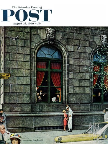 """University Club"" Saturday Evening Post Cover, August 27,1960 Stretched Canvas Print"