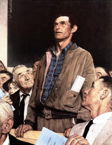 """Freedom Of Speech"", February 21,1943 Stretched Canvas Print"