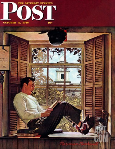 """Willie Gillis in College"" Saturday Evening Post Cover, October 5,1946 Stretched Canvas Print"
