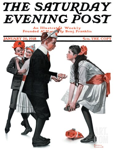 """Pardon Me"" Saturday Evening Post Cover, January 26,1918 Stretched Canvas Print"