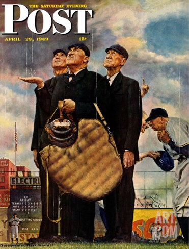 """Bottom of the Sixth""  (Three Umpires) Saturday Evening Post Cover, April 23,1949 Stretched Canvas Print"