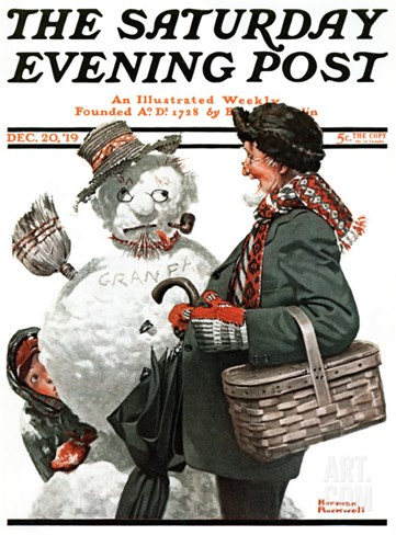 """Gramps and the Snowman"" Saturday Evening Post Cover, December 20,1919 Stretched Canvas Print"