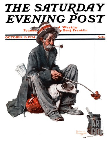 """Hobo"" Saturday Evening Post Cover, October 18,1924 Stretched Canvas Print"