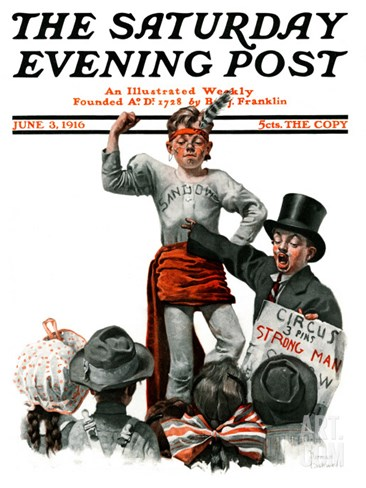 """Circus Strongman"" Saturday Evening Post Cover, June 3,1916 Stretched Canvas Print"