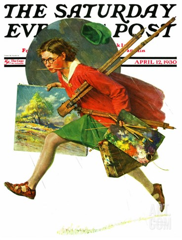 """""""Wet Paint"""" Saturday Evening Post Cover, April 12,1930 Stretched Canvas Print"""