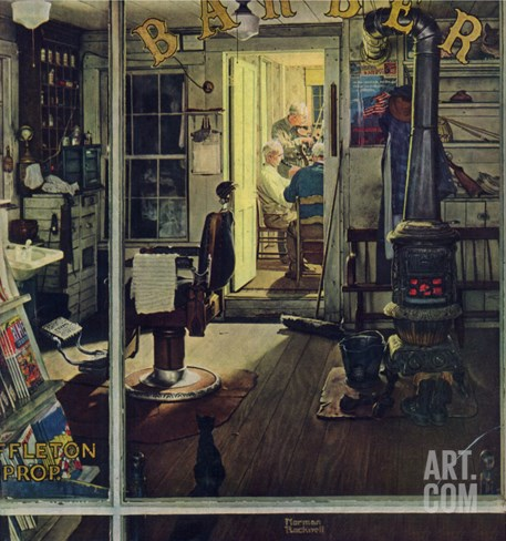 """Shuffleton's Barbershop"", April 29,1950 Stretched Canvas Print"
